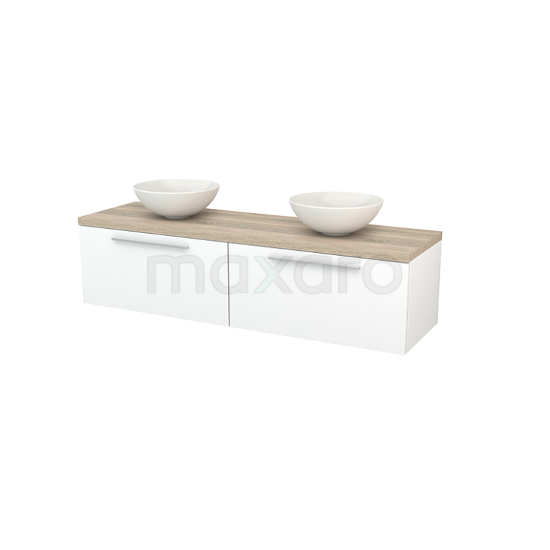 Maxaro Modulo+ Plato BMK002287 Badkamermeubel voor Waskom 160cm Mat Wit Vlak Modulo+ Plato Eiken Blad