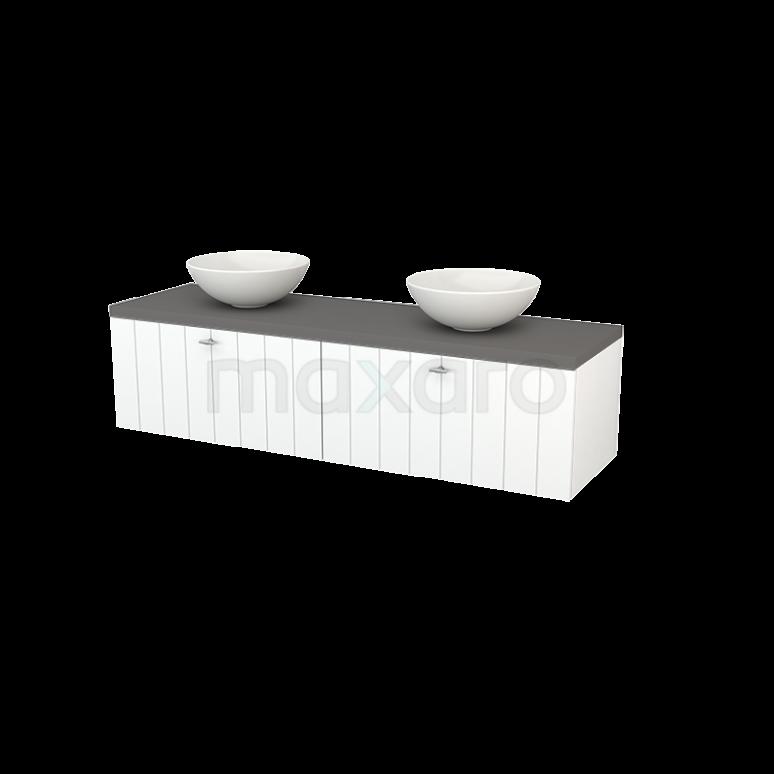 Badkamermeubel voor Waskom 160cm Mat Wit Lamel Modulo+ Plato Basalt Blad