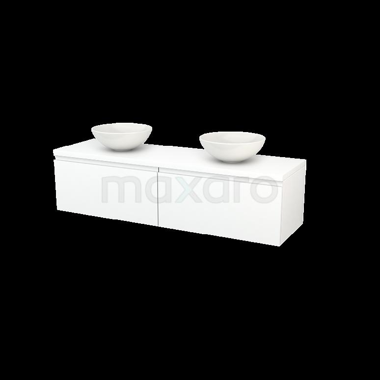 Badkamermeubel voor Waskom 160cm Modulo+ Plato Mat Wit 2 Lades Greeploos