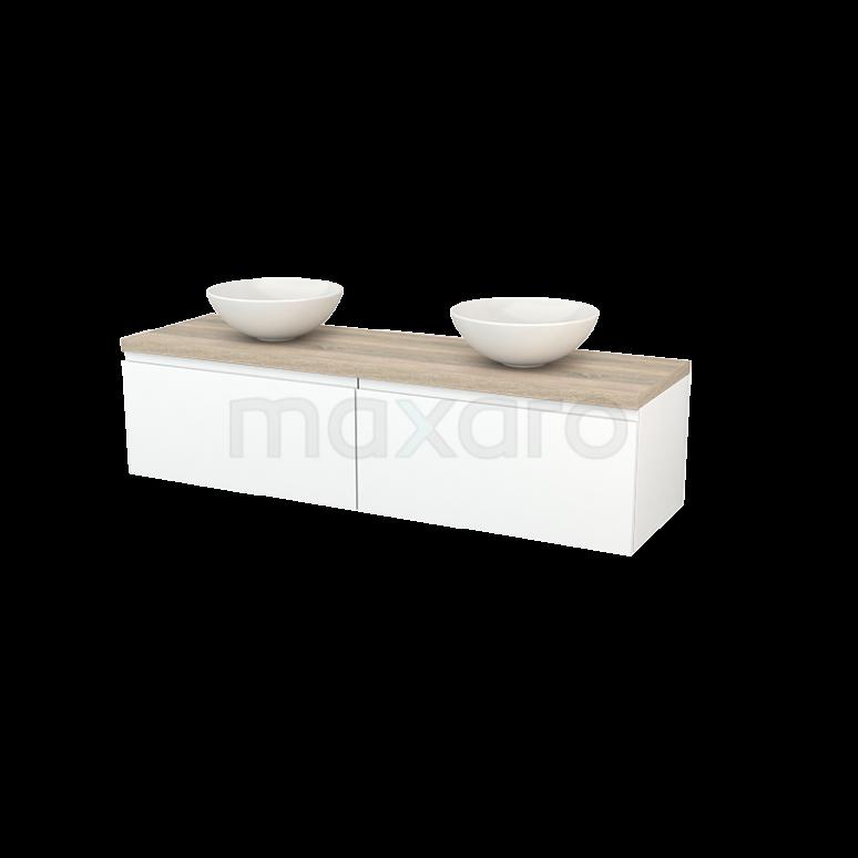 Badkamermeubel voor Waskom 160cm Mat Wit Greeploos Modulo+ Plato Eiken Blad