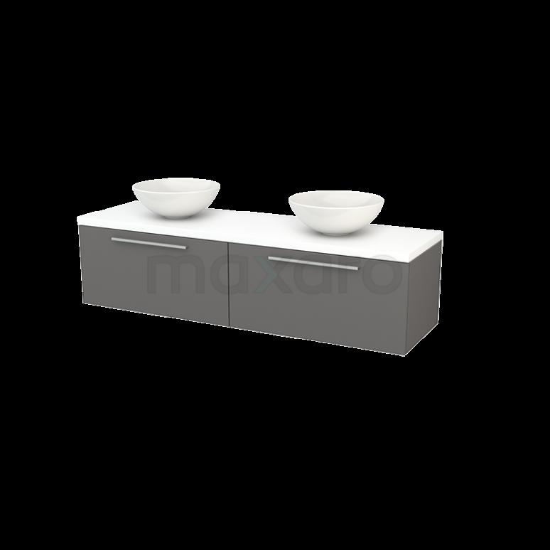 Maxaro Modulo+ Plato BMK002308 Badkamermeubel voor Waskom 160cm Basalt Vlak Modulo+ Plato Mat Wit Blad