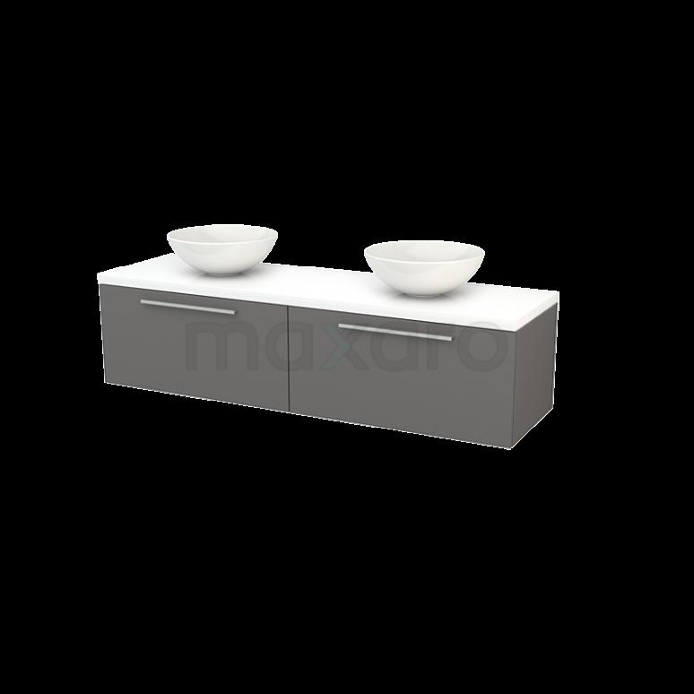 Badkamermeubel voor Waskom 160cm Basalt Vlak Modulo+ Plato Hoogglans Wit Blad