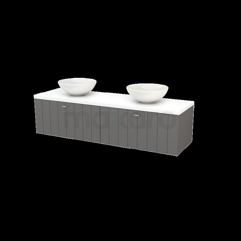 Badkamermeubel voor Waskom 160cm Basalt Lamel Modulo+ Plato Hoogglans Wit Blad