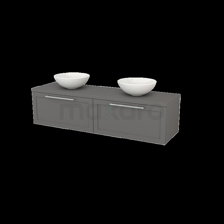Badkamermeubel voor Waskom 160cm Modulo+ Plato Basalt 2 Lades Kader