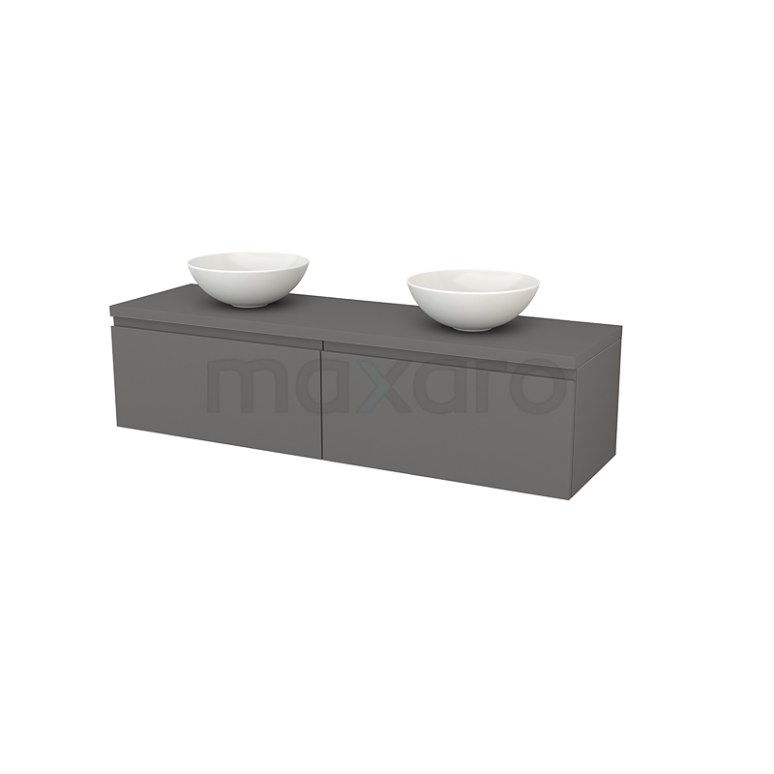 Badkamermeubel voor Waskom 160cm Modulo+ Plato Basalt 2 Lades Greeploos
