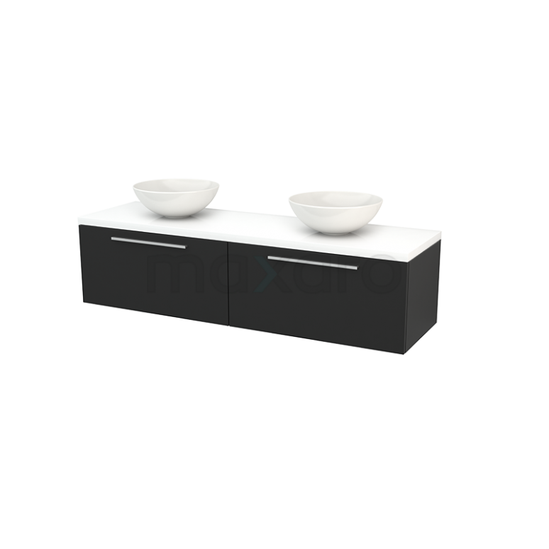 Badkamermeubel voor Waskom 160cm Carbon Vlak Modulo+ Plato Hoogglans Wit Blad