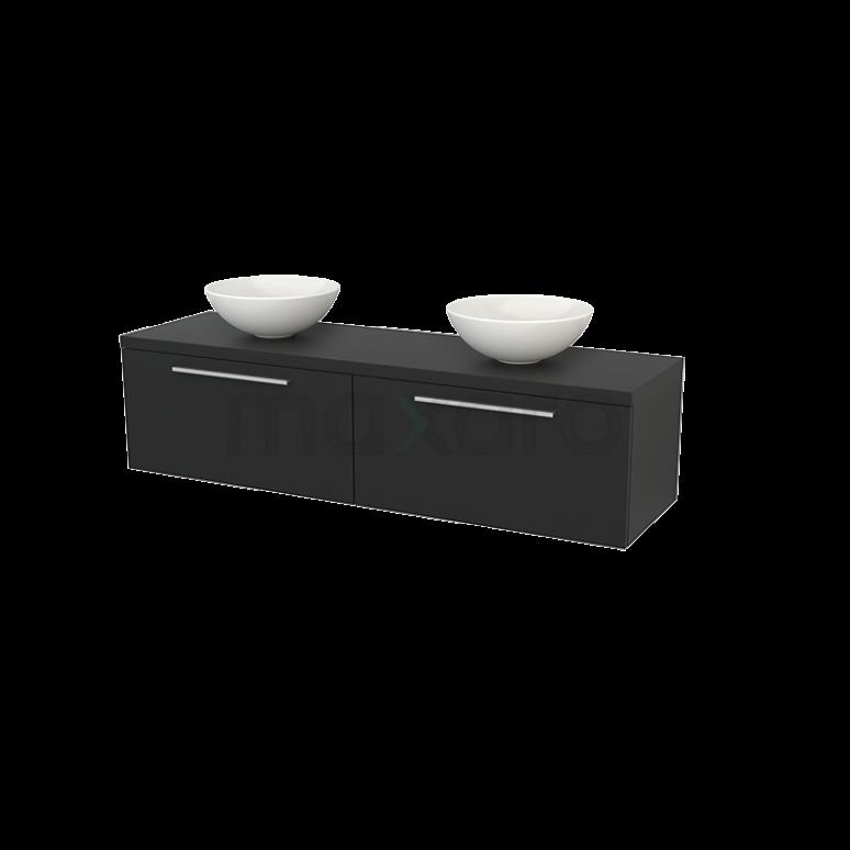 Badkamermeubel voor Waskom 160cm Modulo+ Plato Carbon 2 Lades Vlak