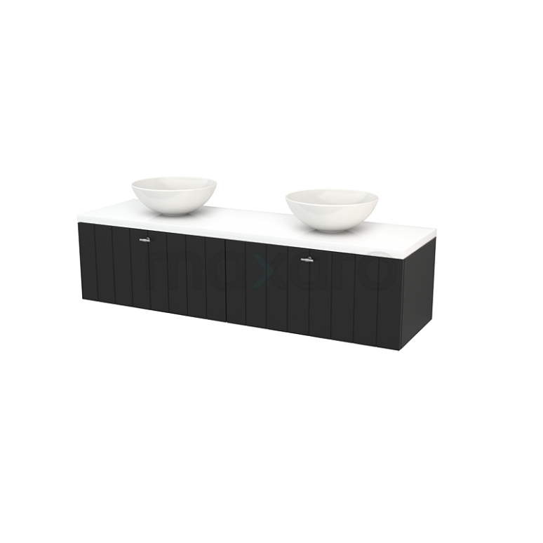 Maxaro Modulo+ Plato BMK002324 Badkamermeubel voor Waskom 160cm Carbon Lamel Modulo+ Plato Hoogglans Wit Blad