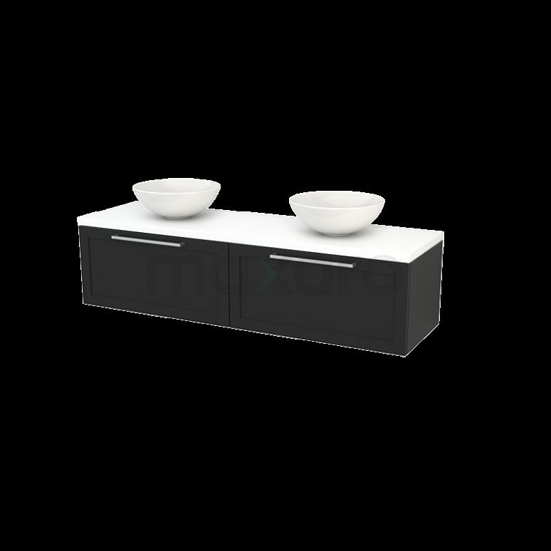 Badkamermeubel voor Waskom 160cm Carbon Kader Modulo+ Plato Mat Wit Blad