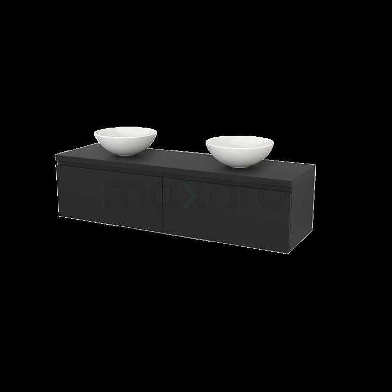 Maxaro Modulo+ Plato BMK002331 Badkamermeubel voor Waskom 160cm Modulo+ Plato Carbon 2 Lades Greeploos