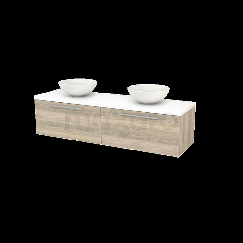Badkamermeubel voor Waskom 160cm Eiken Vlak Modulo+ Plato Mat Wit Blad