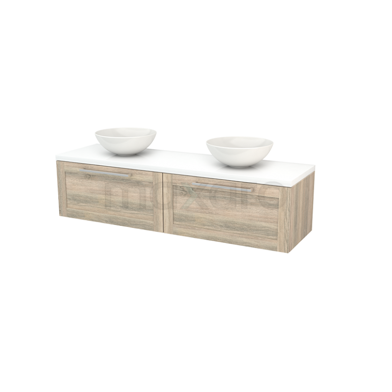 Badkamermeubel voor Waskom 160cm Eiken Kader Modulo+ Plato Hoogglans Wit Blad