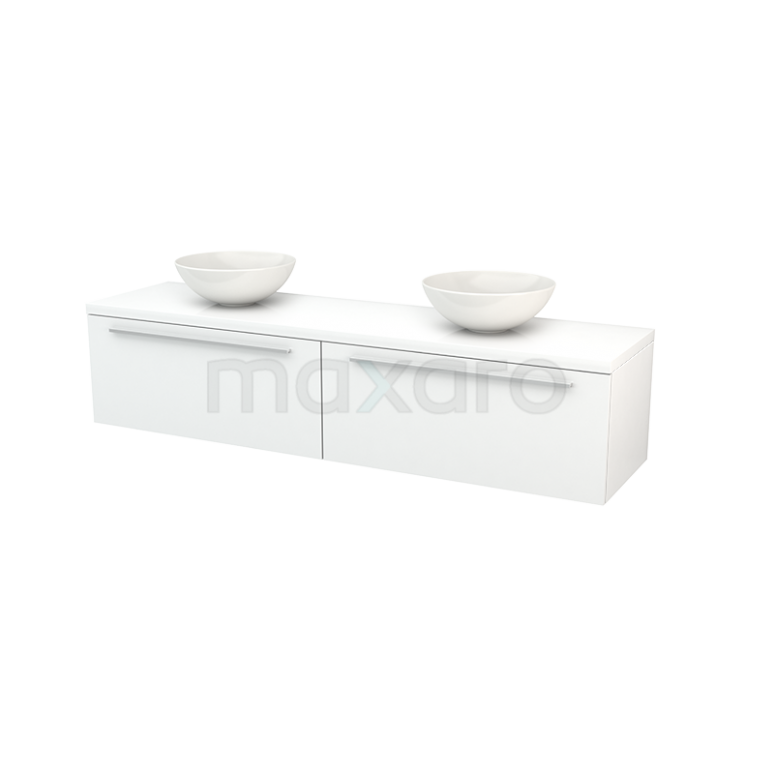 Badkamermeubel voor Waskom 180cm Modulo+ Plato Hoogglans Wit 2 Lades Vlak