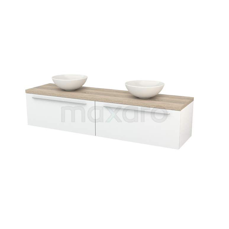Badkamermeubel voor Waskom 180cm Hoogglans Wit Vlak Modulo+ Plato Eiken Blad
