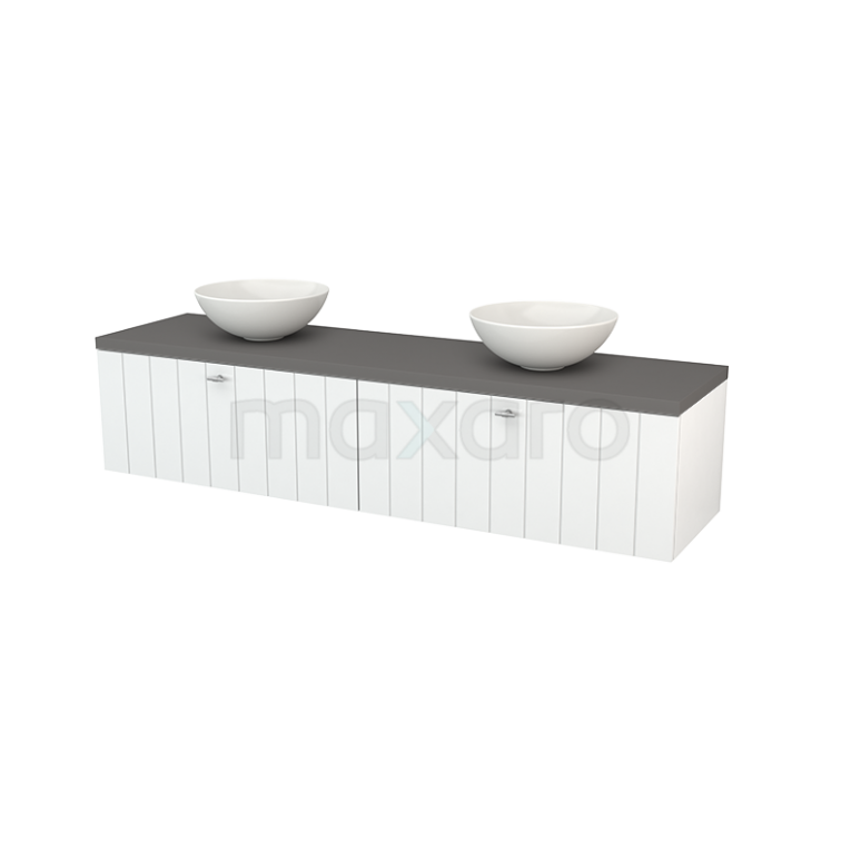 Badkamermeubel voor Waskom 180cm Hoogglans Wit Lamel Modulo+ Plato Basalt Blad