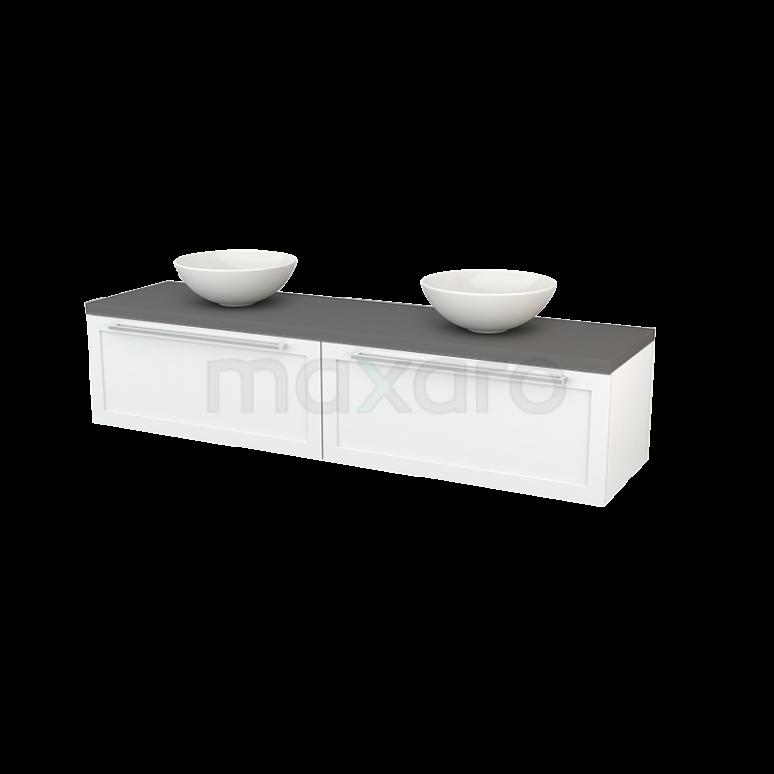 Badkamermeubel voor Waskom 180cm Hoogglans Wit Kader Modulo+ Plato Basalt Blad