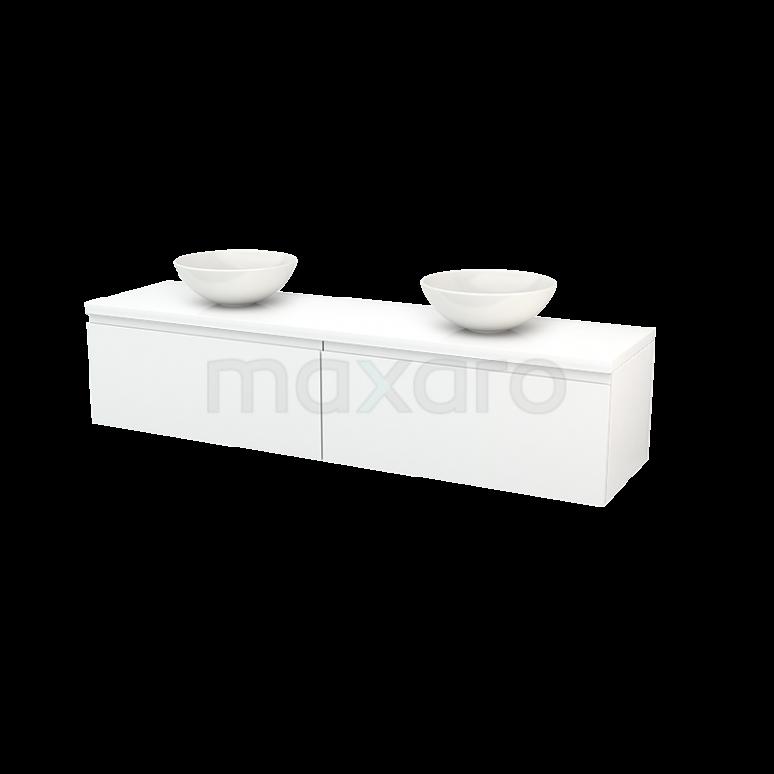 Badkamermeubel voor Waskom 180cm Modulo+ Plato Hoogglans Wit 2 Lades Greeploos