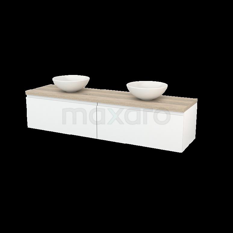 Maxaro Modulo+ Plato BMK002371 Badkamermeubel voor Waskom 180cm Hoogglans Wit Greeploos Modulo+ Plato Eiken Blad