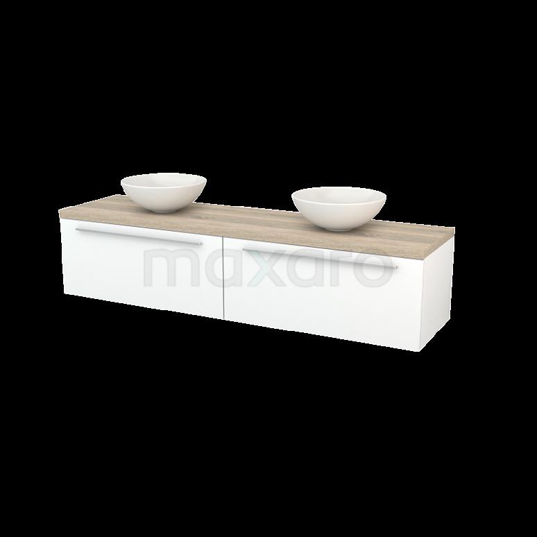 Maxaro Modulo+ Plato BMK002377 Badkamermeubel voor Waskom 180cm Mat Wit Vlak Modulo+ Plato Eiken Blad