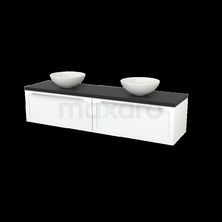 Badkamermeubel voor Waskom 180cm Mat Wit Kader Modulo+ Plato Carbon Blad
