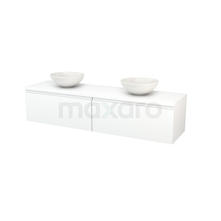 Badkamermeubel voor Waskom 180cm Modulo+ Plato Mat Wit 2 Lades Greeploos
