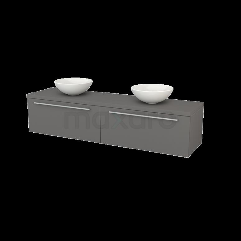 Badkamermeubel voor Waskom 180cm Modulo+ Plato Basalt 2 Lades Vlak