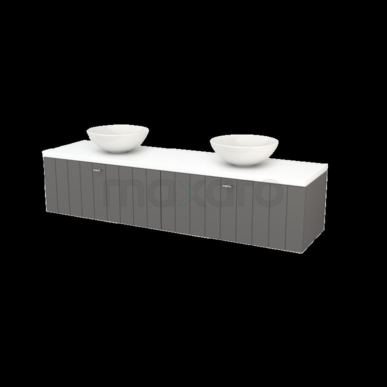 Badkamermeubel voor Waskom 180cm Basalt Lamel Modulo+ Plato Mat Wit Blad
