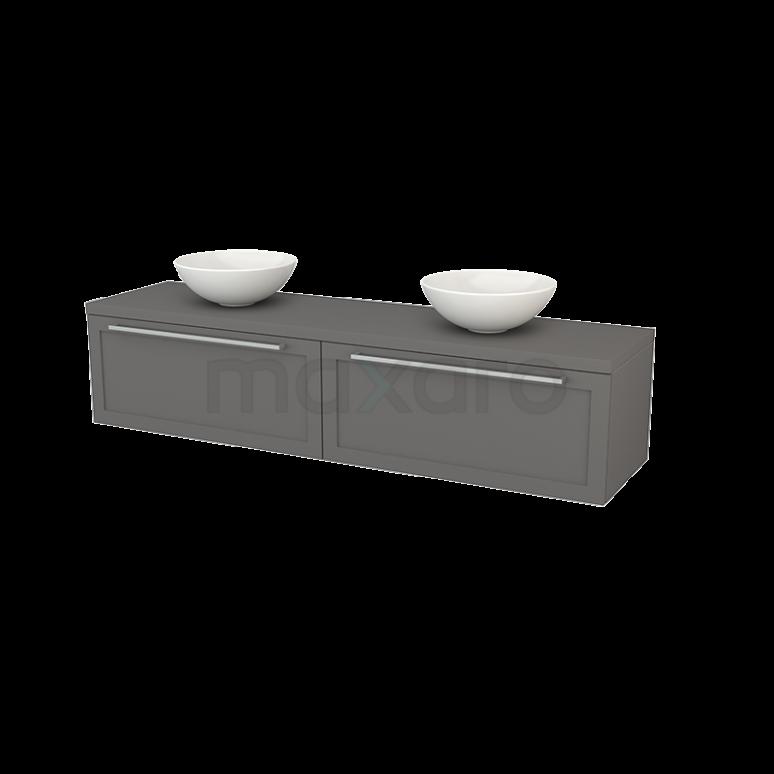 Badkamermeubel voor Waskom 180cm Modulo+ Plato Basalt 2 Lades Kader
