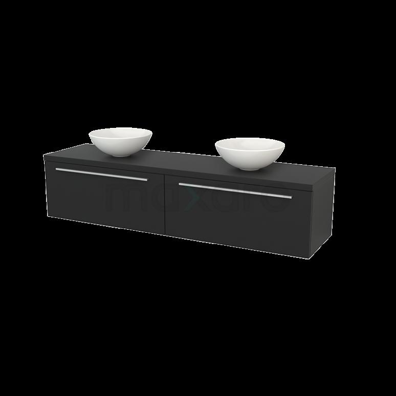 Badkamermeubel voor Waskom 180cm Modulo+ Plato Carbon 2 Lades Vlak