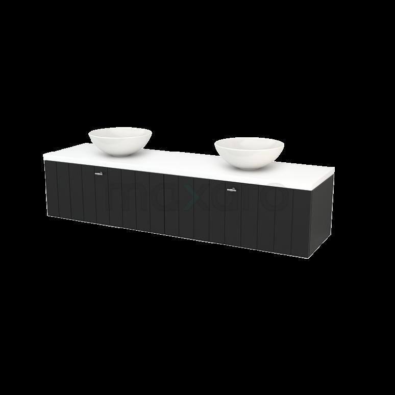 Maxaro Modulo+ Plato BMK002413 Badkamermeubel voor Waskom 180cm Carbon Lamel Modulo+ Plato Mat Wit Blad