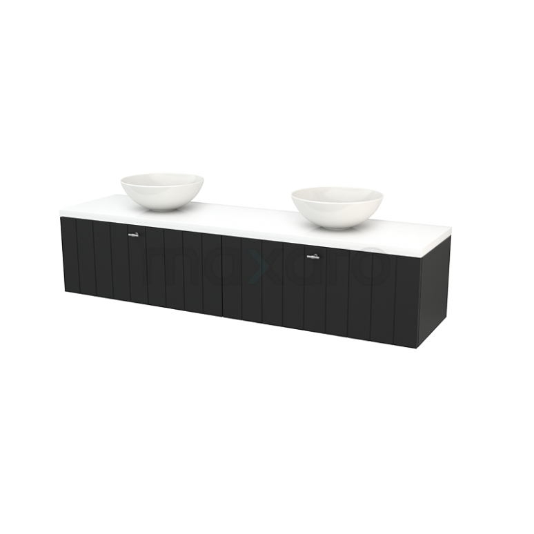 Badkamermeubel voor Waskom 180cm Carbon Lamel Modulo+ Plato Hoogglans Wit Blad