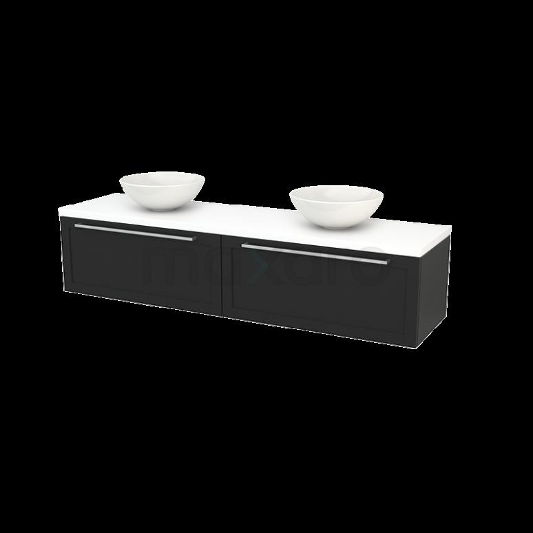 Badkamermeubel voor Waskom 180cm Carbon Kader Modulo+ Plato Mat Wit Blad