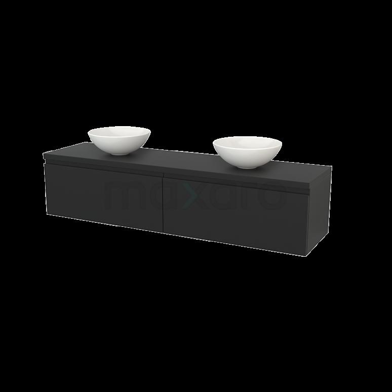 Maxaro Modulo+ Plato BMK002421 Badkamermeubel voor Waskom 180cm Modulo+ Plato Carbon 2 Lades Greeploos