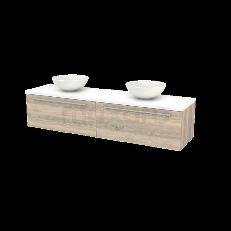 Badkamermeubel voor Waskom 180cm Eiken Vlak Modulo+ Plato Hoogglans Wit Blad