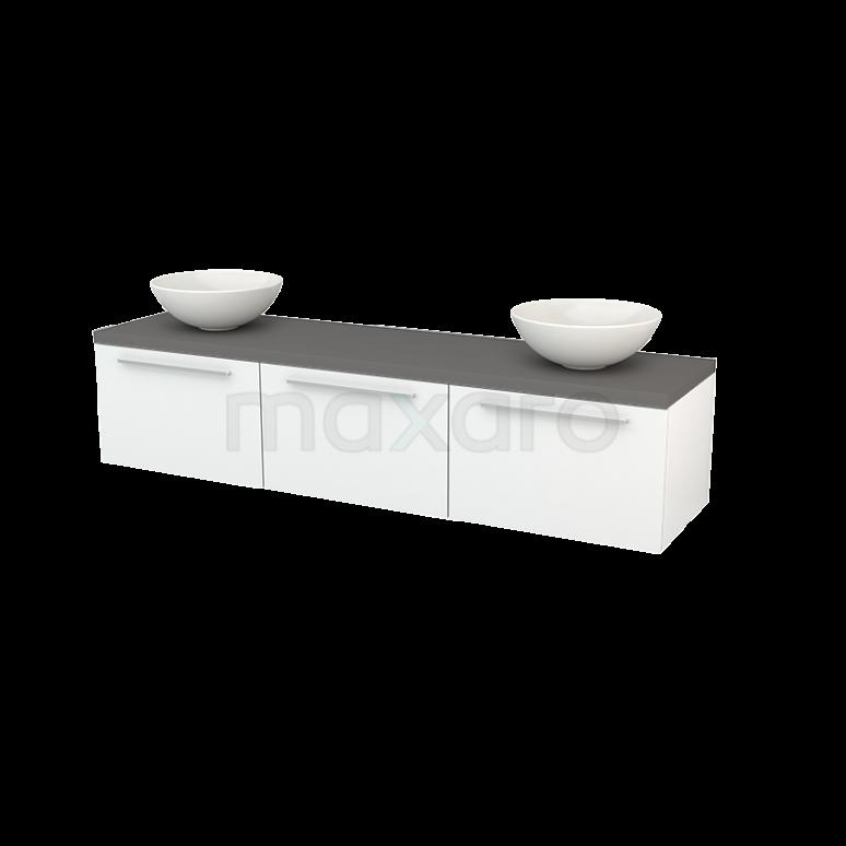 Maxaro Modulo+ Plato BMK002441 Badkamermeubel voor Waskom 180cm Hoogglans Wit Vlak Modulo+ Plato Basalt Blad