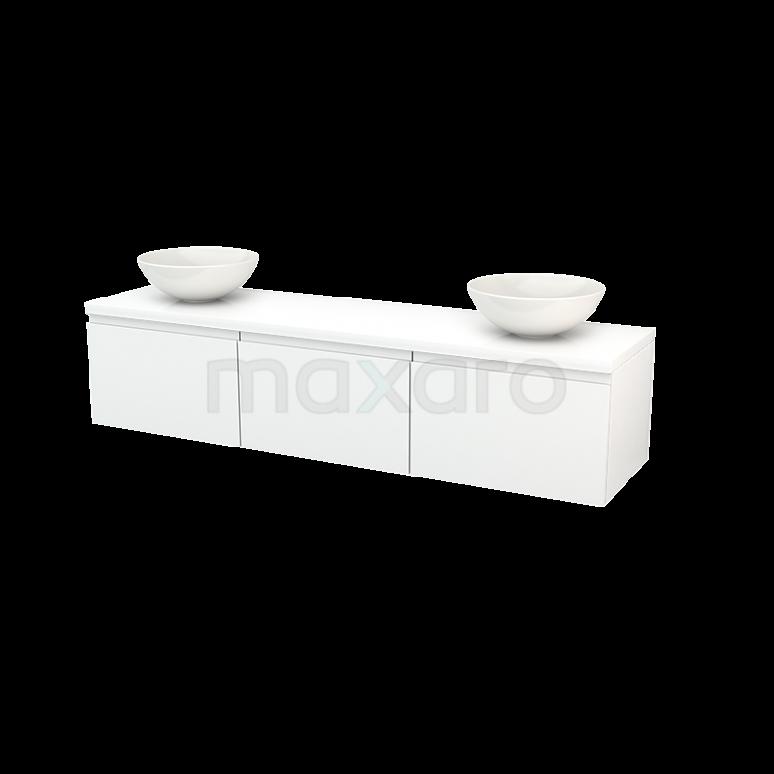 Badkamermeubel voor Waskom 180cm Modulo+ Plato Hoogglans Wit 3 Lades Greeploos
