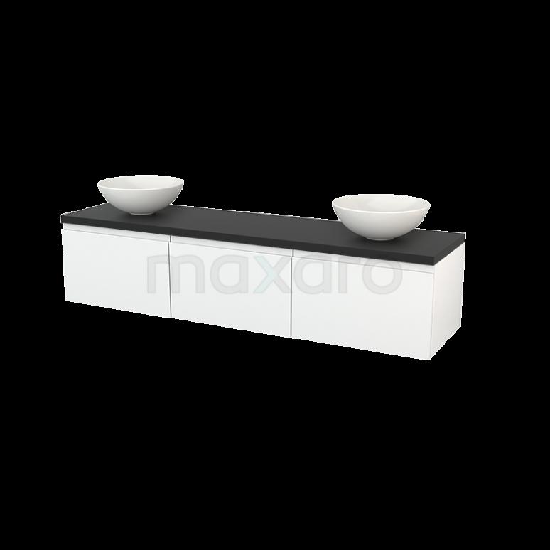 Badkamermeubel voor Waskom 180cm Hoogglans Wit Greeploos Modulo+ Plato Carbon Blad