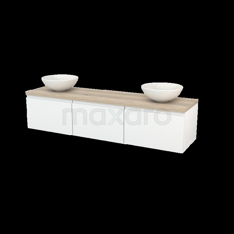 Maxaro Modulo+ Plato BMK002461 Badkamermeubel voor Waskom 180cm Hoogglans Wit Greeploos Modulo+ Plato Eiken Blad