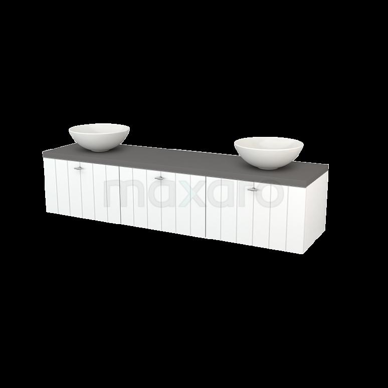 Maxaro Modulo+ Plato BMK002471 Badkamermeubel voor Waskom 180cm Mat Wit Lamel Modulo+ Plato Basalt Blad