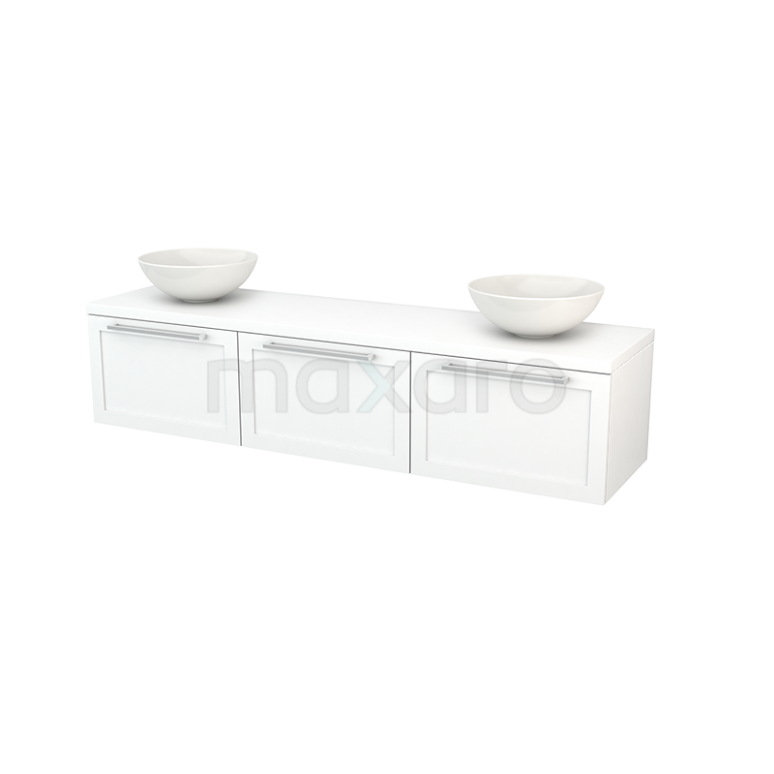 Badkamermeubel voor Waskom 180cm Modulo+ Plato Mat Wit 3 Lades Kader