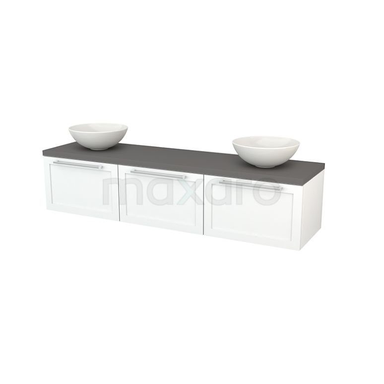 Badkamermeubel voor Waskom 180cm Mat Wit Kader Modulo+ Plato Basalt Blad