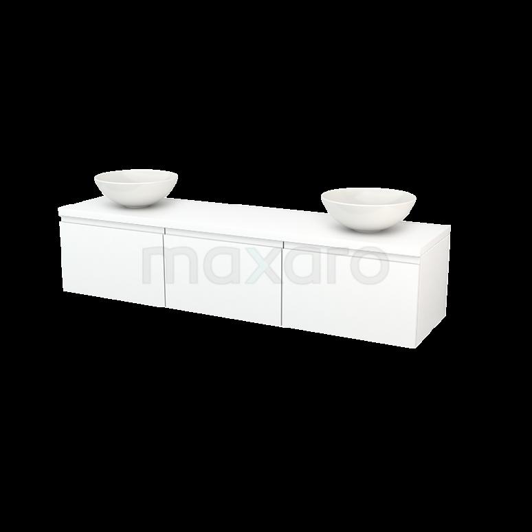 Badkamermeubel voor Waskom 180cm Modulo+ Plato Mat Wit 3 Lades Greeploos