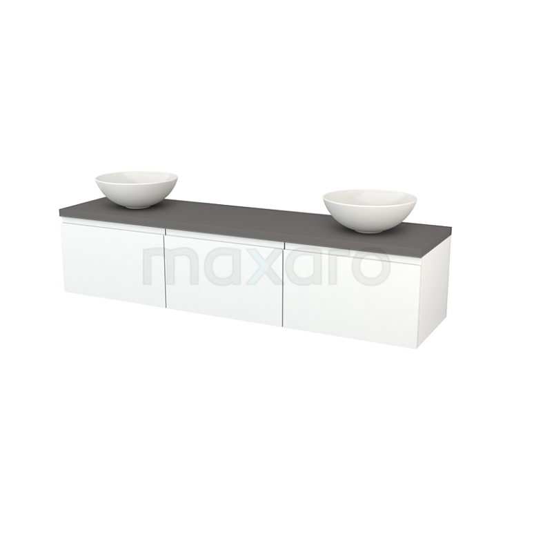 Maxaro Modulo+ Plato BMK002483 Badkamermeubel voor Waskom 180cm Mat Wit Greeploos Modulo+ Plato Basalt Blad