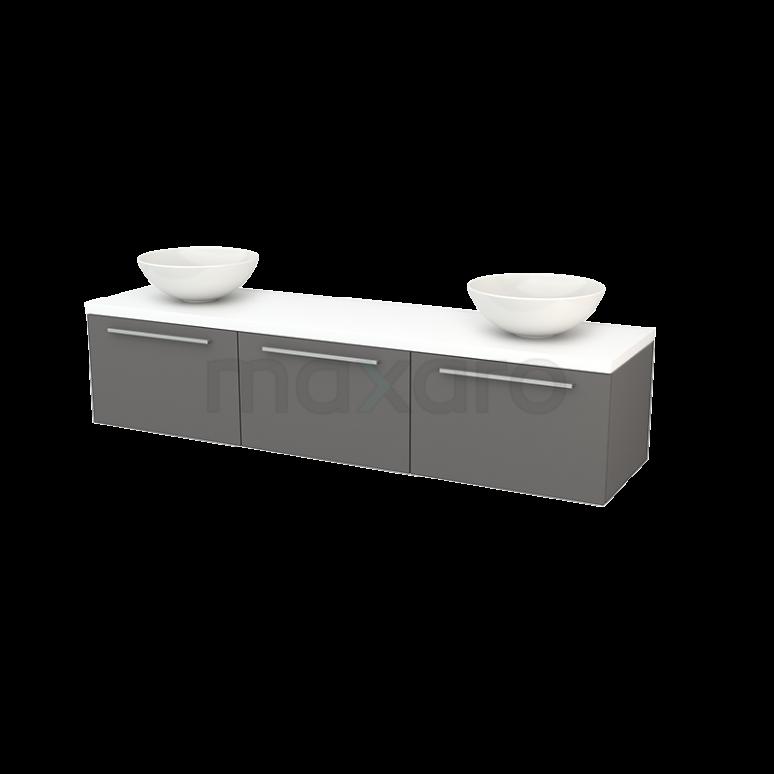 Badkamermeubel voor Waskom 180cm Basalt Vlak Modulo+ Plato Mat Wit Blad