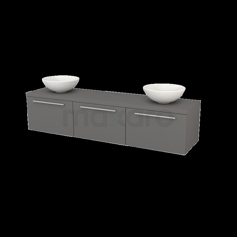 Badkamermeubel voor Waskom 180cm Modulo+ Plato Basalt 3 Lades Vlak
