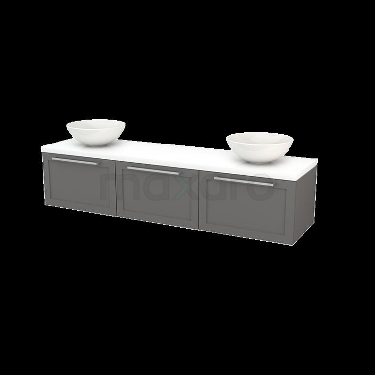 Badkamermeubel voor Waskom 180cm Basalt Kader Modulo+ Plato Hoogglans Wit Blad