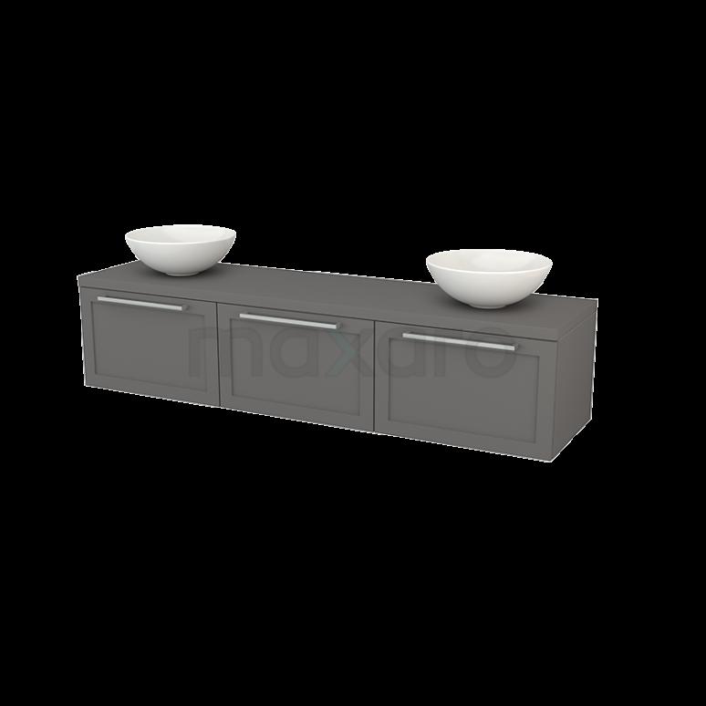 Maxaro Modulo+ Plato BMK002496 Badkamermeubel voor Waskom 180cm Modulo+ Plato Basalt 3 Lades Kader