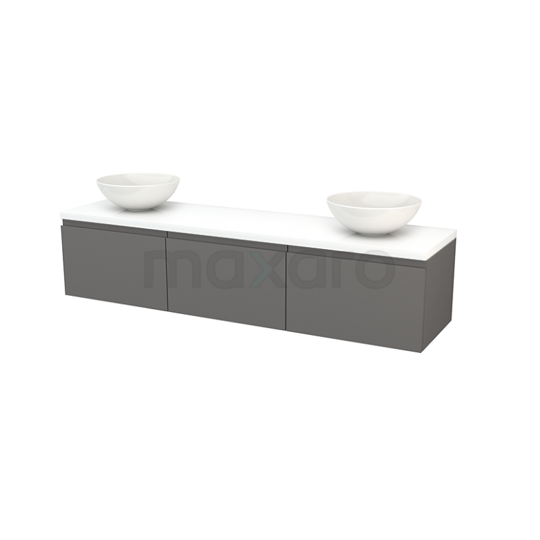 Maxaro Modulo+ Plato BMK002498 Badkamermeubel voor Waskom 180cm Basalt Greeploos Modulo+ Plato Hoogglans Wit Blad