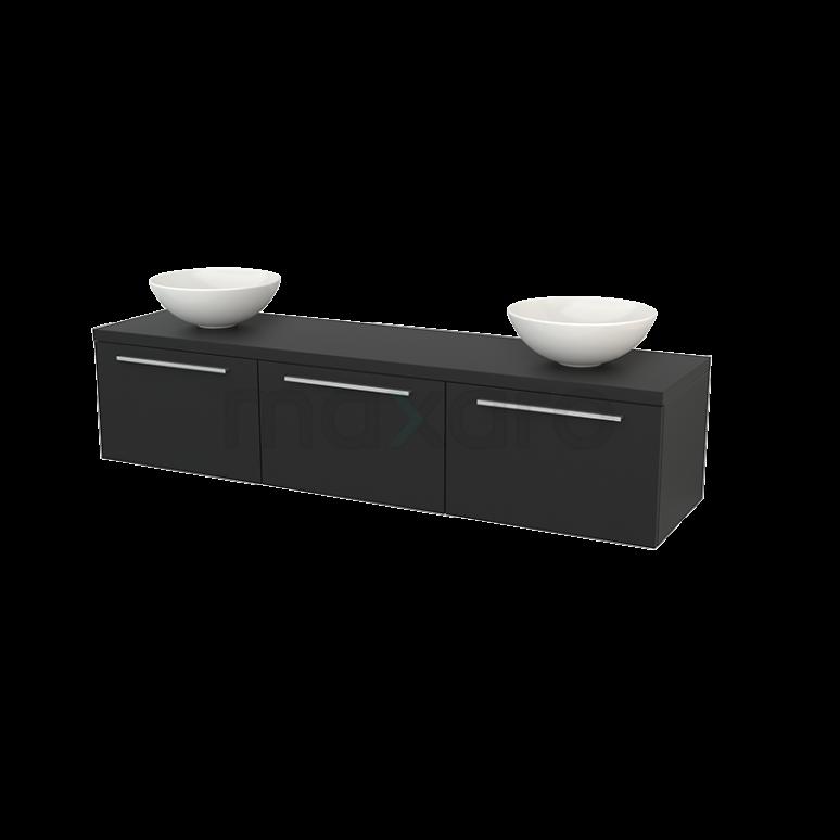 Maxaro Modulo+ Plato BMK002502 Badkamermeubel voor Waskom 180cm Modulo+ Plato Carbon 3 Lades Vlak