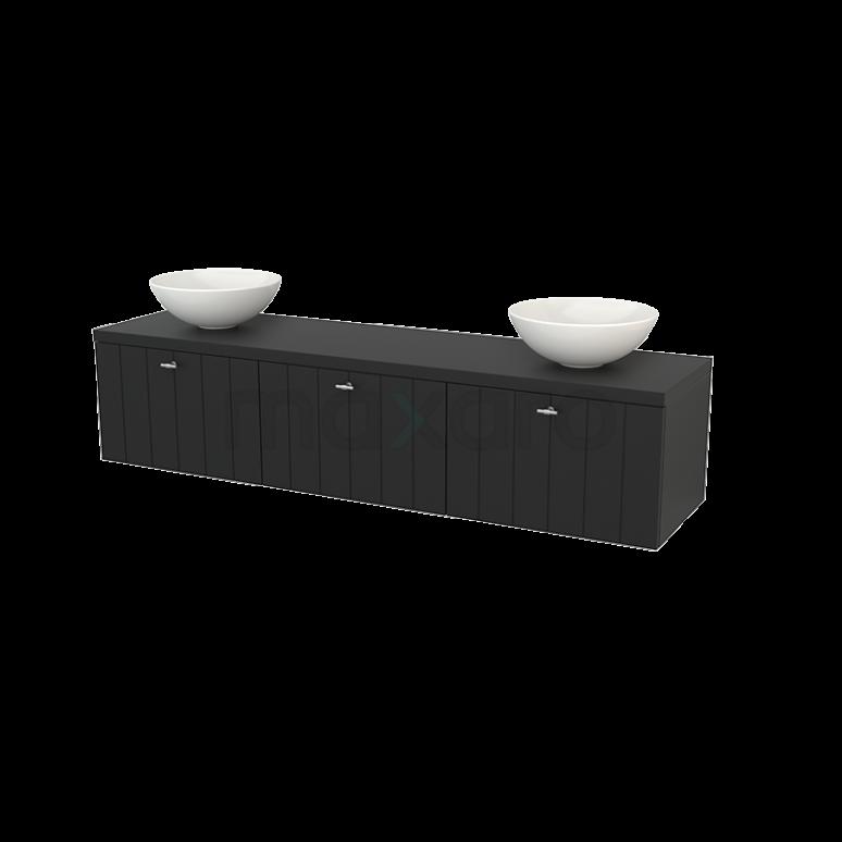 Badkamermeubel voor Waskom 180cm Modulo+ Plato Carbon 3 Lades Lamel